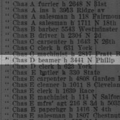 Brown Chas D beamer h 3441 N Philip