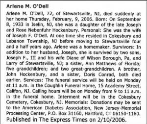 Obituary - Arlene Mary Hockenbury O'Dell