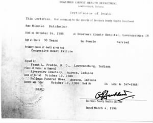Minnie Batchelor's Death Certificate