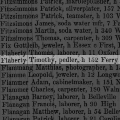 Flaherty Timothy, pedler, h 152 Ferry