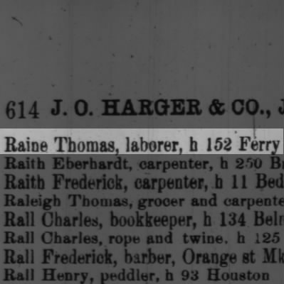 Raine Thomas, laborer, h 152 Ferry