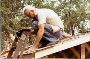 Joe Demko working on Larrys garage roof.jpg