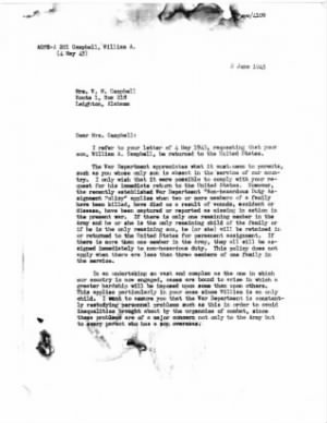Letter from War Dept. Page 1