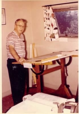 Charlie Nolan - Architect at work, About 1957 - Lubbock, Texas