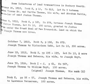Sunbury County Land transactions Joshua and Joseph Thomas.png