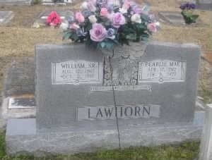 Headstone: William & Pearlie Kilpatrick Lawhorn