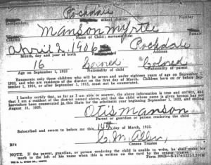 Myrtle's School Registration, Rockdale, Texas