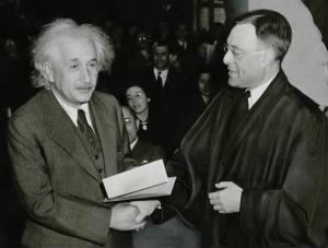 Albert Einstein receiving American Citzenship Certificate