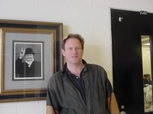 rusty with picture of churchill at the high school 2004