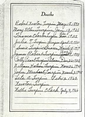 Turpin Family Bible Page 2