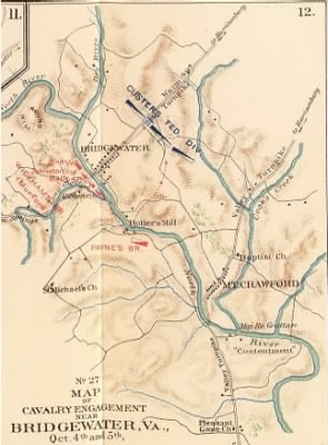 Map of Cavalry Engagement at Bridgewater, October 1864
