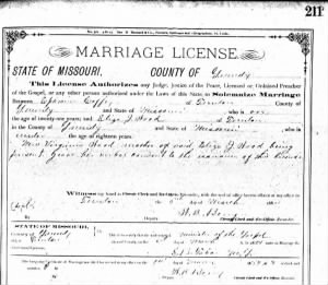 Marriage License for Ephraim Coffey & Eliza J. Wood
