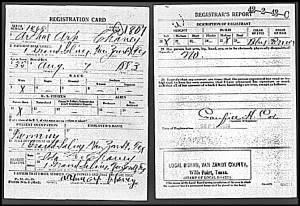 Arthur Art Chaney WWI Draft Registration Card