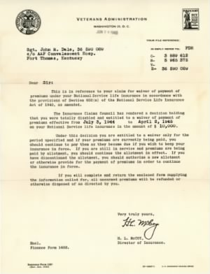 Dale_John_M Letter - Insurance Prem Waiver While Disabled In 1944-45 - 20 Jun 1945005.jpg