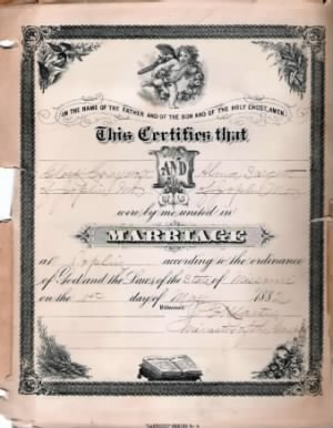 Marriage certificate for Clark Craycroft and Alma Sergeant