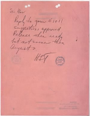 Truman orders dropping of Atomic Bomb