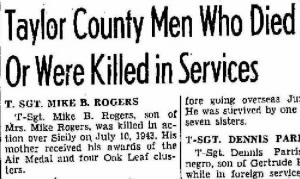 T/Sgt Mike D Rogers, KIA, 10 or 11 July, 1943