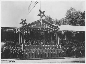 B-54 Grand Review, 1865. Washington, Showing Reviewing Stand with General Grant, & President Johnson & Cabinet.