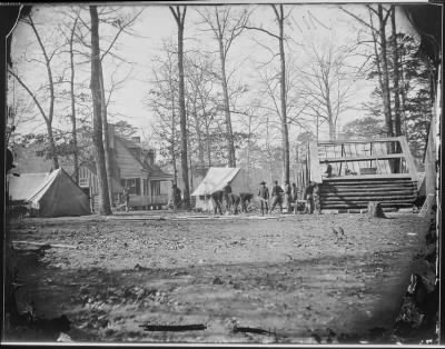 Mathew B Brady Collection of Civil War Photographs › B-140 Building Winter Quarters at City Point, Virginia. - Fold3.com