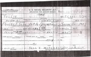 SOCIAL SECURITY APPLICATION - TOLLIE MITCHELL
