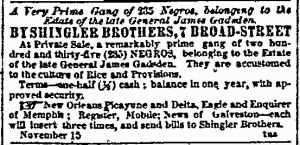 Estate Sale Notice, James Gadsden's Estate, 6 Dec 1859