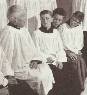Uncle Floyd and boys in surplices