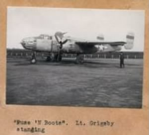 "Lt Ditchey's 'main' SHIP, the B-25 ""Puss N Boots"""