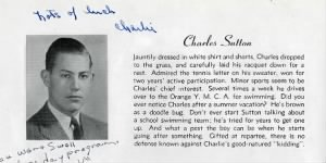 Charles E Sutton, 1940 High School, Charlie LOVED to SWIM !