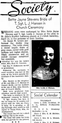 "18 April, 1945 ""Mrs. Leslie Hanson...."""