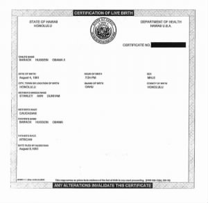 Obama Birth Certificate short form