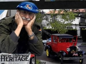 george B Underwood with his 1929 RED Ford TRuck, which he drives and shows.