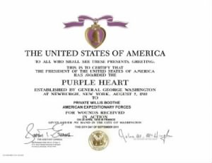 Willis Boothe Purple Heart Award