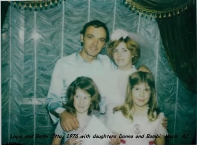 1976 Louie and Barbi Otto's wedding with Barbi's daughter's Bambi and Donna Foster
