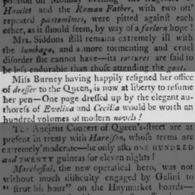 Fanny Burney is released from Court Duties