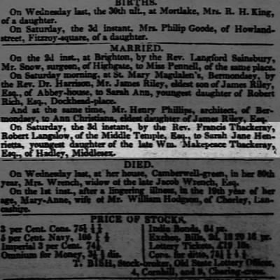 William Makepeace Thackeray's aunt marries Saturday 3rd October 1818
