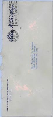 Envelope postmarked 1952 from Office of the Vice-President, Albon W Barkley