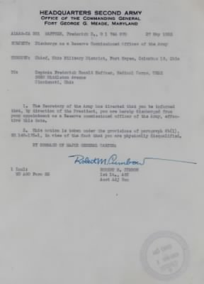 27 May 1953 Letter from Robert Cumbow, 1st Lt AGC, Ft. George Mead, Maryland