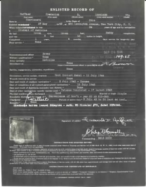Negative version of Enlisted Record, full page, on back of Honorable Discharge, FDH.