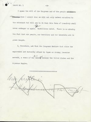 Franklin Roosevelt 'Day of Infamy Speech' draft - pg 3