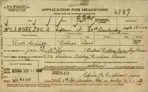 MCLEMORE Application for Headstone