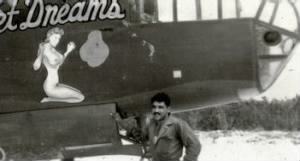 "T/Sgt ""MO"" Martinez with his ""Wet Dreams"" B-25 321st BG, 445th BS,MTO WWII"