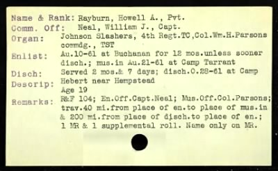 "Howell A ""Doc"" Rayburns Muster Card"