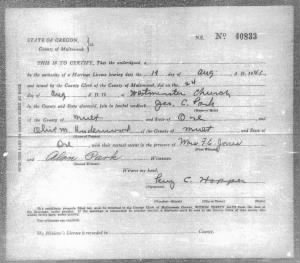 Marriage Certificate for Olive Underwood & George Park