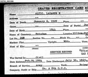 Grave Registration - Lazarus Altic