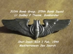 310th BG, 379th BS, Lt Dudley Thorne, Lost on 1 Feb. 1944 (shot-down at Sea)