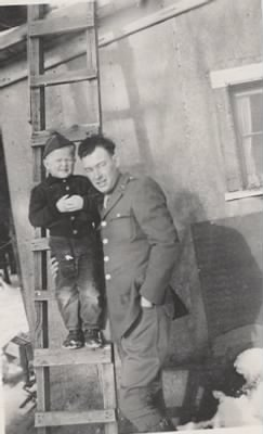 Herbert in WWII Uniform with son GH