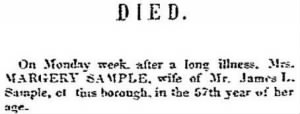 Margery Chamberlain Sample 1854 Death Notice.JPG