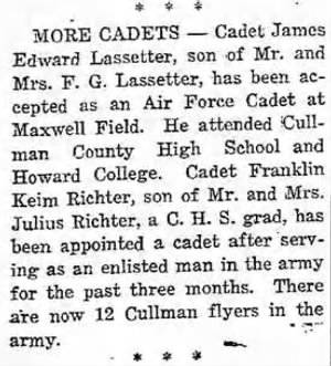 James E Lassetter, accepted as a CADET in the AAC.