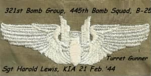 321st Bomb Group, 445th BS, B-25's Sgt Harold Lewis, KIA, was a Top-Turret Gunner