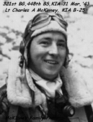 321stBG,448thBS, Lt Charles Asbury McKinney, KIA on 4th Mission 31 March,1943